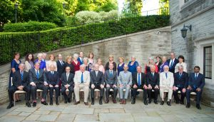 Members, Partners and Hosts at the Society Dinner 10th June 2016 Toronto Hosts Zane Cohen, James Rutka and Allan Okrainec are seated 4th, 6th and 8th from the left
